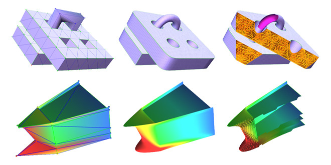 Top: A model of a mechanical part with the complex topology. Bottom: A material property representation with a ship model. Both are represented by our unified subdivision.