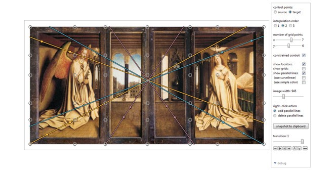 Interactive perspective correction of the Ghent Altarpiece (closed view) using our software tool.