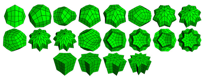 A selection of non-regular topology meshes we analyzed in order to prove numerically that our scheme is C1 continuous. The last four meshes show cases of extraordinary edges.