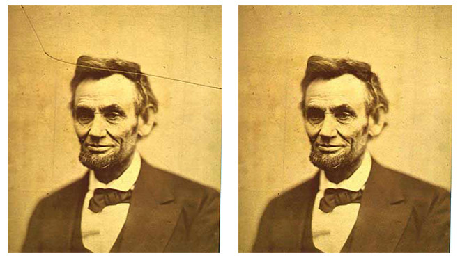 Left: An 1865 Photograph of Abraham Lincoln taken by Alexander Gardner. Right: Image restored with our algorithm. The inpainting time took about half of a second.